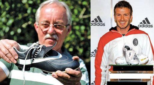 Laszlo Oroszi muestra su creación y al lado David Beckham posa junto a un par de Adidas Predator.