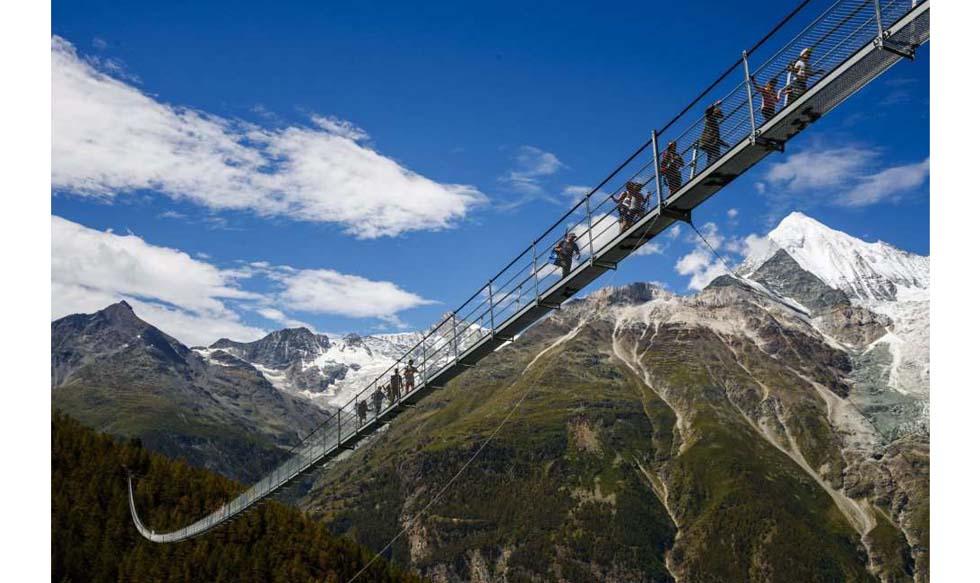 Suiza, puente, puente colgante, Randa