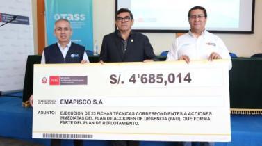 Emapisco recibe más de S/ 4.6 millones para mejorar agua y alcantarillado en Pisco